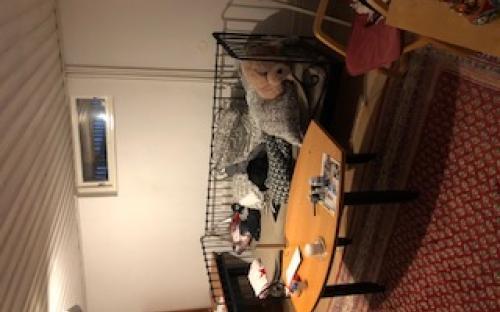 Relativt fint vardagsrum med öppen spis